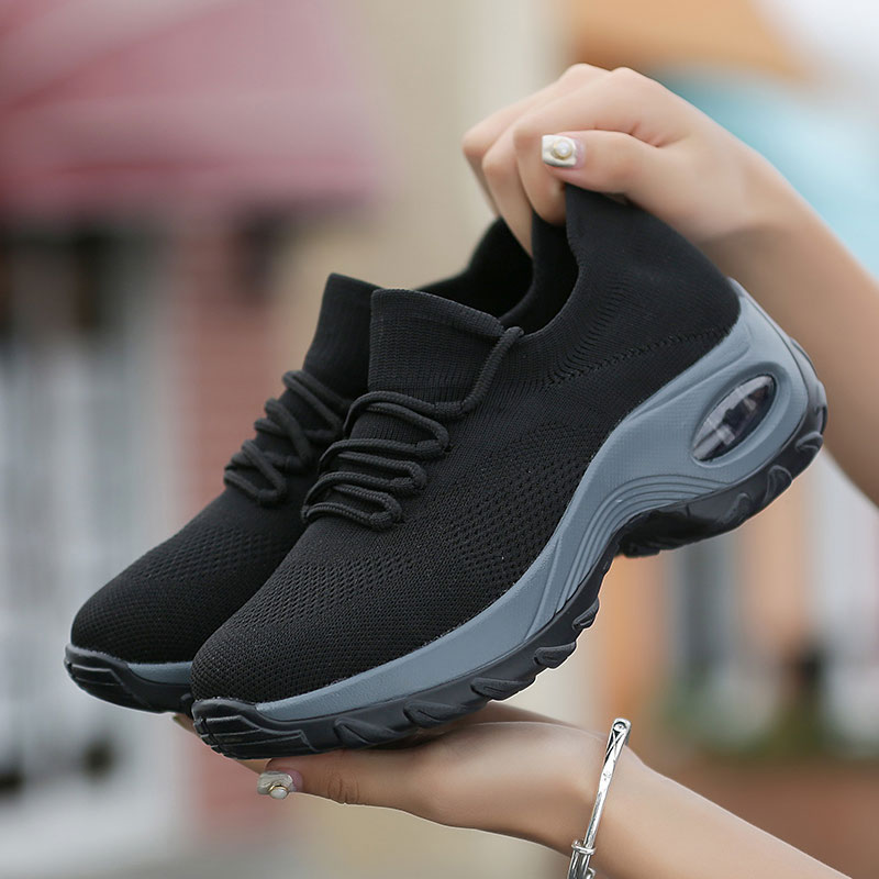 MWY Women Platform Shoes Casual Shoes Lace Up Breathable Wedge Sneakers Deportivas Mujer Black Trainers Knitting Shoes Women