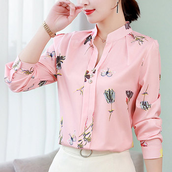 Übergroßen langarm chiffon bluse frauen büro hemd casual tops rosa blusas mujer de moda 2019 Weiß blusen 5XL