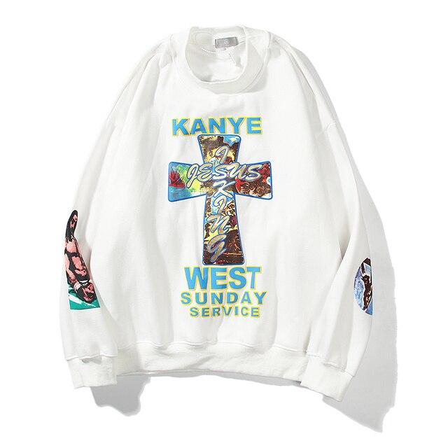 Kanye West  Sunday Service Cross Print Crewneck Sweatshirts  1