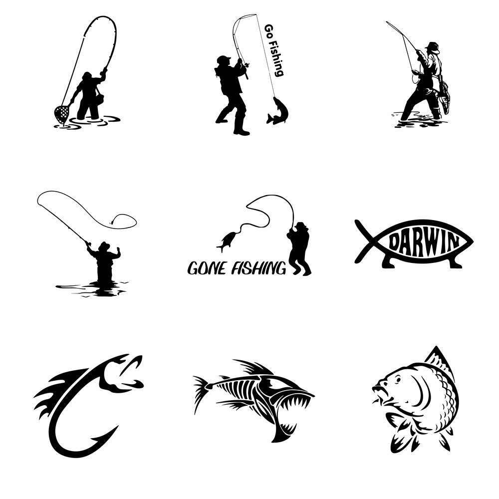 <font><b>10</b></font> Styles Hot Sale Fish Car <font><b>Sticker</b></font> Funny Car-Styling For Rear view Mirror Car Head Engine Cover <font><b>Windows</b></font> Decoration Accessories image