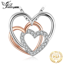 Heart to Heart CZ Silver Pendant Necklace 925 Sterling Silver Choker Statement Necklace Women Silver 925 Jewelry Without Chain