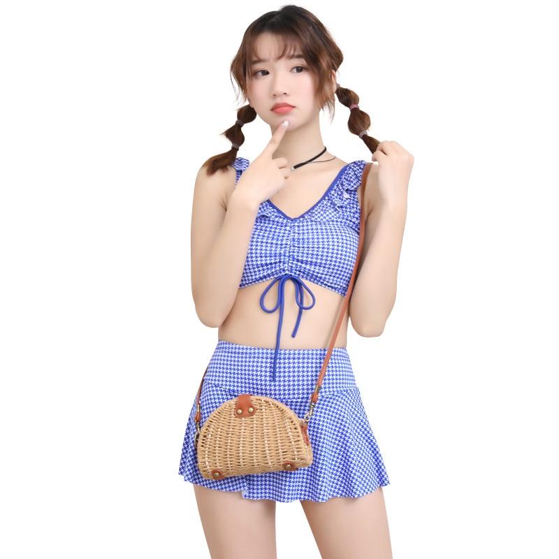 [KID'S Swimwear] New Style GIRL'S Swimsuit Big Kid Korean-style Split Skirt-Boxer Students GIRL'S Swimwear