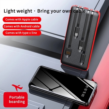 20000mAh Power Bank Full Mirror With 4 Charging Cable Fast Phone Charger External Battery Portable Power bank Charger 4 Devices image