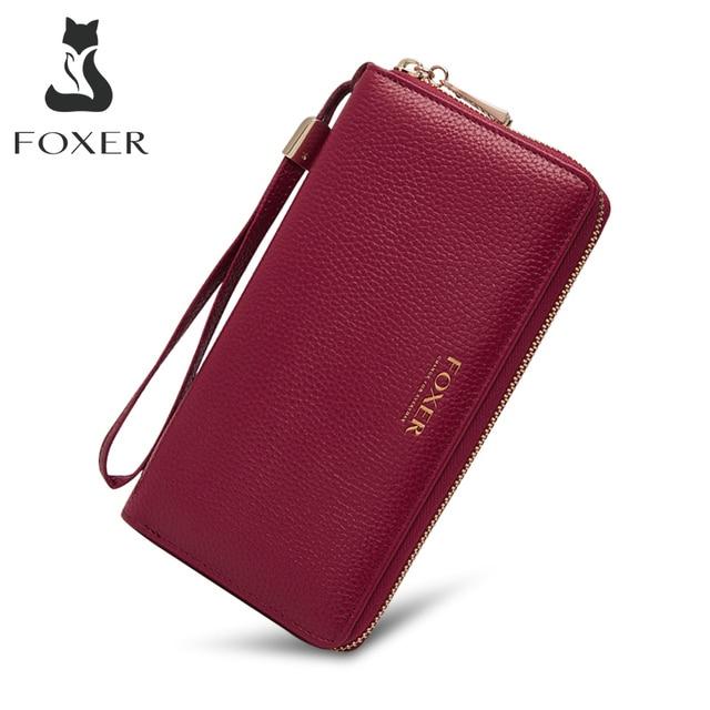 FOXER 100% Genuine Leather Wallet Lady Luxury Long Purse Card Slot Women Money Bag Cowhide Phone Bag Female Bank Holder ID Case 2