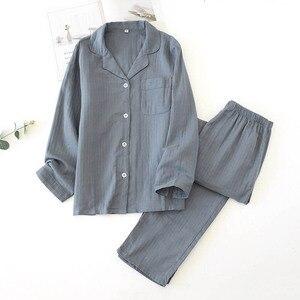 Image 2 - אוהבי פיג מה סט נוחות גזה כותנה מוצק צבע הלבשת עבור גברים ונשים זוגות אביב סתיו מלא שרוול Homewear