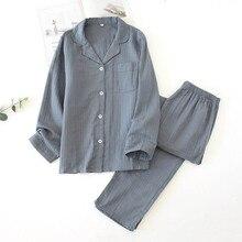 Gli amanti Pajamas Set Comfort Garza di Cotone di Colore Solido Degli Indumenti Da Notte Per Gli Uomini E Le Coppie Donne Primavera E in Autunno Manicotto Pieno Homewear