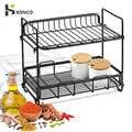 Konco Kitchen Dish rack Cutlery organizer Double Layer Iron Storage Rack Drainer Seasnoning Bottles Condiment Rack Organizer