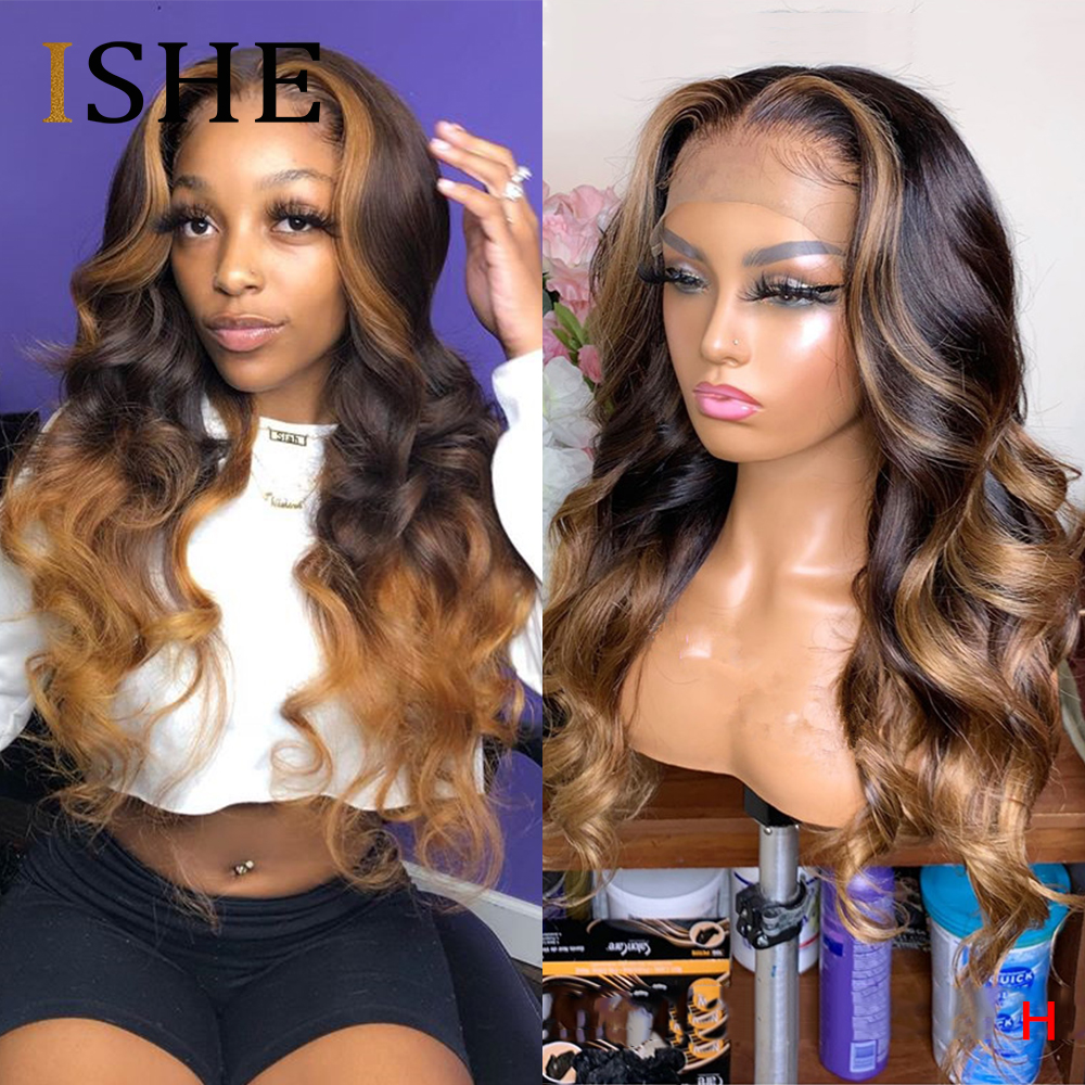 Honey Blonde Highlight Lace Front Wigs 13x6 Lace Front Human Hair Wigs 360 Lace Frontal Wig Body Wave Full Lace Wigs Remy 150