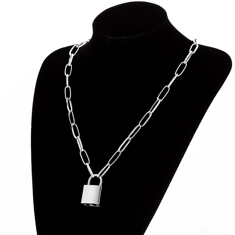 Hb3aef602d36e4766932555e88f356125c - KMVEXO Multilayer Lock Chain Necklace Punk Padlock Key Pendant Necklace Women Girl Fashion Gothic Party Jewelry