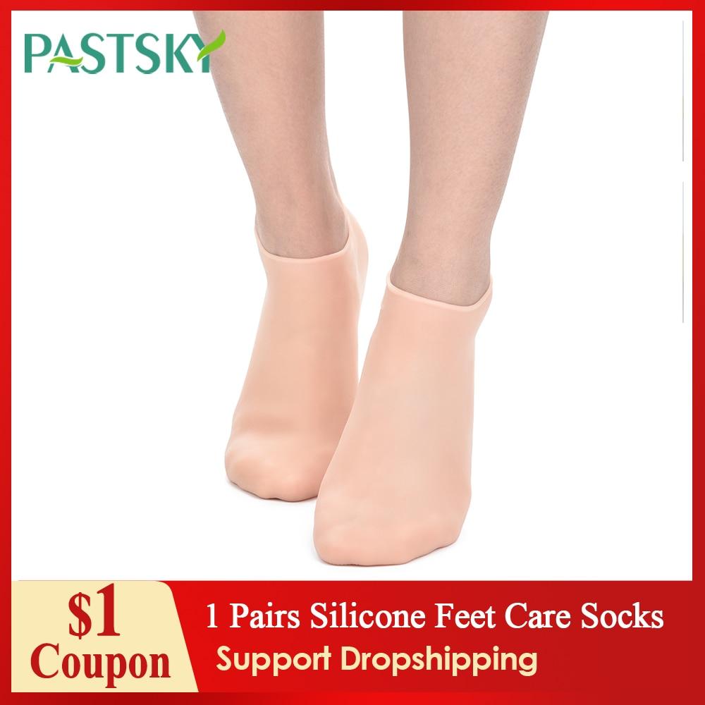 1 pares de silicone pés cuidados meias de comprimento completo hidratante gel calcanhar meias remover rachado cutin antiderrapante pé protetor de cuidados com a pele