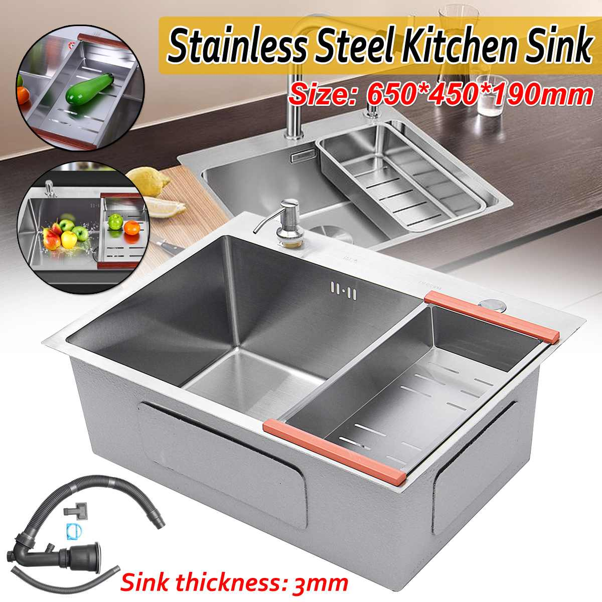 Stainless Steel Kitchen Sink Single Slot Dish Basin 62*42cm Dish Washing Basin With Drain Basket Soap Dispenser Drain Pipe