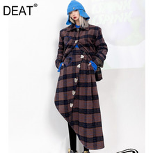 Woolen Coat Skirt Suit Plaid DEAT Women Cotton for Long-Sleeve Over-The-Knee GD1088 College-Style