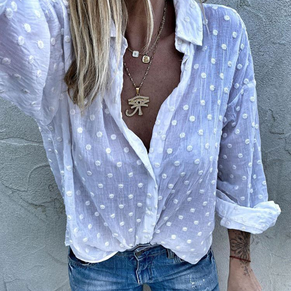 Adisputent Womens Tops And Blouses Long Sleeve Chemise Femme Polka Dot Loose Shirt Ladies Chiffon Blouse Dames Blusa Feminina