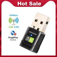 Adaptateur Wifi USB pilote gratuit 600Mbps adaptateur Wi-Fi 5 ghz antenne USB Ethernet PC adaptateur Wi-Fi Lan Wifi Dongle récepteur Wifi ca