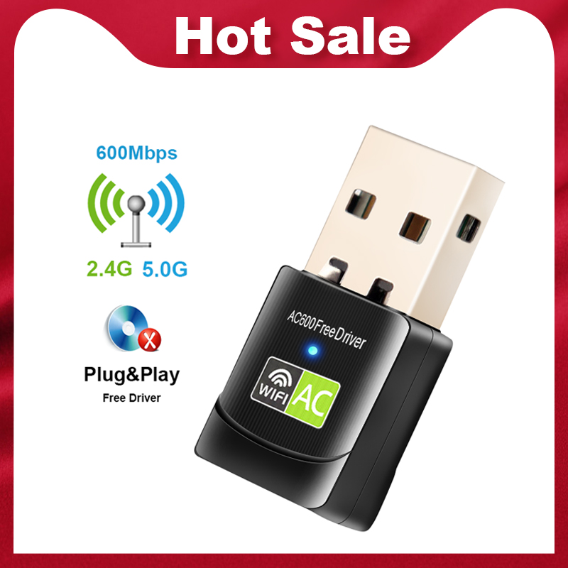 Free Driver USB Wifi Adapter 600Mbps Wi fi Adapter 5 ghz Antenna USB Ethernet PC Wi-Fi Adapter Lan Wifi Dongle AC Wifi Receiver