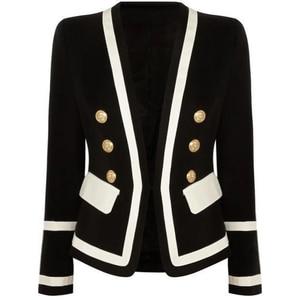 Image 1 - גבוה רחוב חדש אופנה 2020 מעצב בלייזר נשים של קלאסי שחור לבן צבע בלוק מתכת כפתורים בלייזר מעיל חיצוני ללבוש