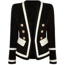 Dạo Phố Cao Cấp Thời Trang Mới 2020 Thiết Kế Áo Blazer Nữ Cổ Điển Đen Trắng Khối Màu Nút Kim Loại Áo Khoác Blazer Ngoài Mặc
