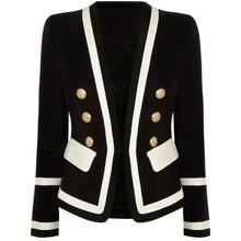 HIGH STREET Neue Mode 2020 Designer Blazer frauen Klassische Schwarz Weiß Farbe Block Metall Tasten Blazer Jacke Oberbekleidung