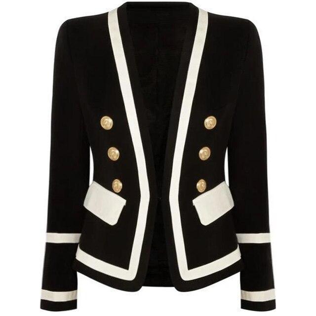 HIGH STREET New Fashion 2020 Designer Blazer Womens Classic Black White Color Block Metal Buttons Blazer Jacket Outer Wear