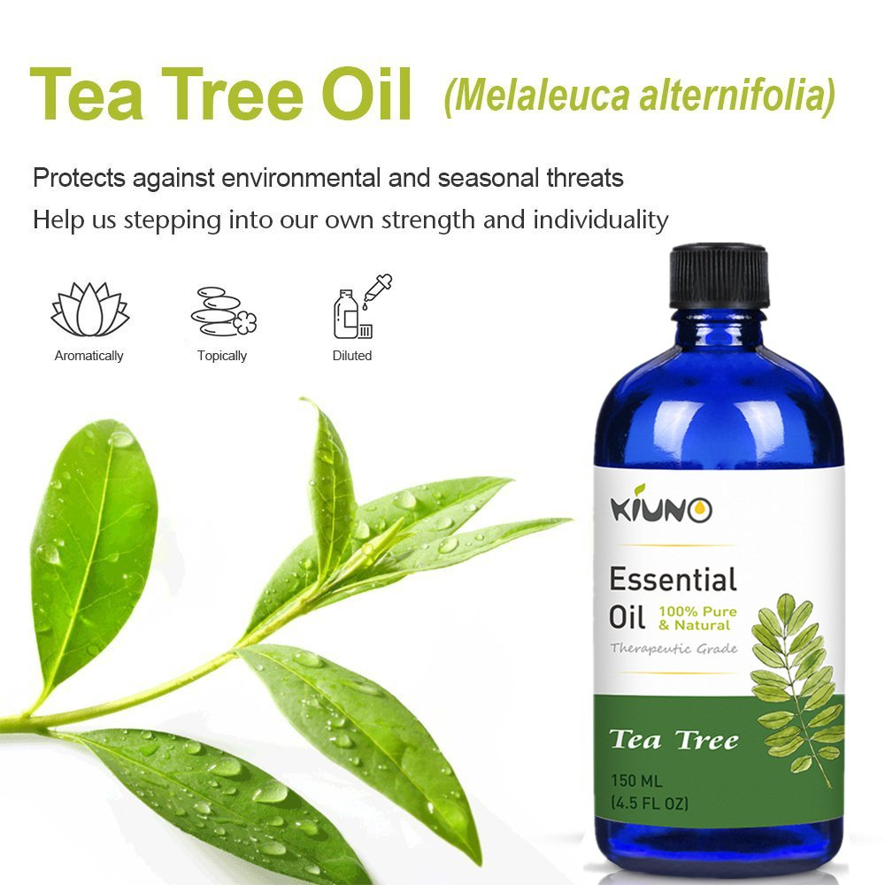 KIUNO 150ML Tea Tree Essential Oils 100% Pure And Natural With Therapeutic Grade,Aromatherapy For Relieve Stress Essential Oil