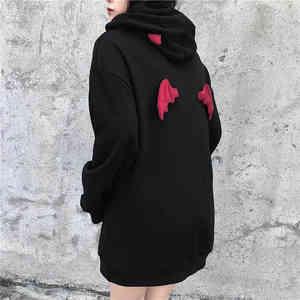 NiceMix осенне-весенние женские толстовки в стиле Харадзюку, милые толстовки в стиле панк, дьявол в готическом стиле, шикарный пуловер с капюшо...