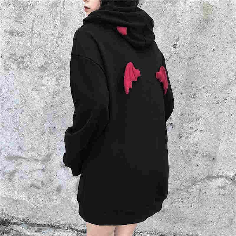 NiceMix الخريف الشتاء النساء بلوزات عالية الشارع Harajuku هوديس لطيف الشرير القوطية الشيطان القرن شيك قناع السترة عرق فضفاض