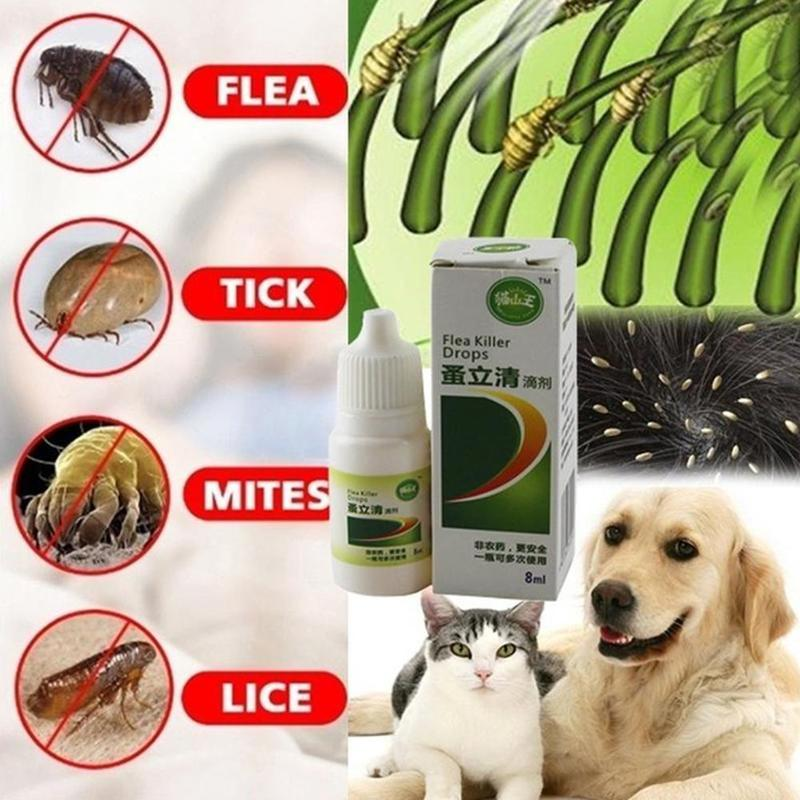 8ml Pets Anti-flea Drops Dogs Insecticide Flea Lice Insect Killer Liquid Cat Skin Healthy Care Spray Deworming Treat Products