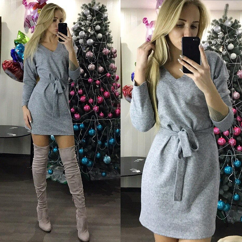 Women Casual Solid Mini Dress Ladies V Neck Long Sleeve Sashes Straight Dress 2019 Autumn Winter Vintage Christmas Party Dresses