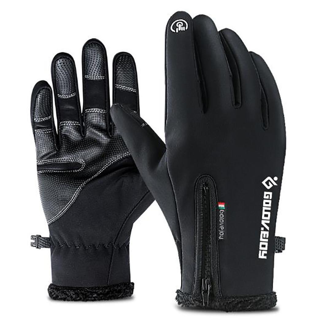 Cold-proof Unisex Waterproof Winter Gloves With Zipper Cycling Fluff Warm Gloves For Touchscreen Windproof Anti Slip For Skiing