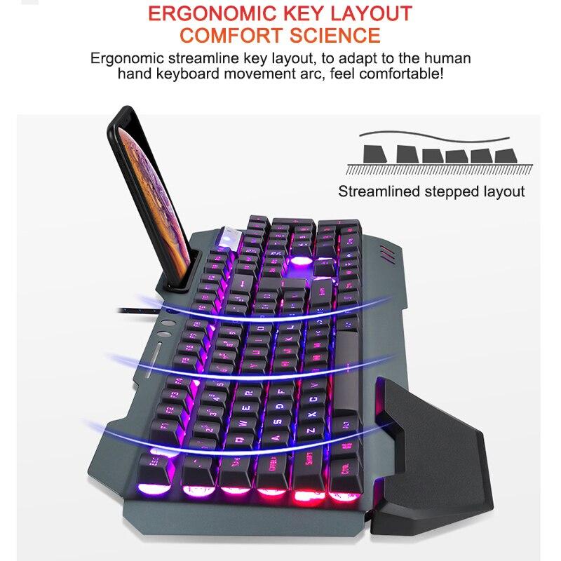 fio teclado ergonômico com retroiluminação rgb suporte