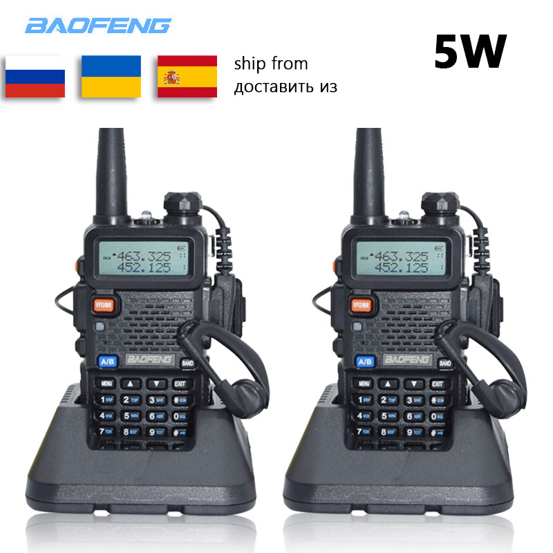 2pc Baofeng UV-5R Walkie Talkie VHF UHF Uv5r Baofeng 5W Portable Outdoor Two Way Radio Radio Station From Russia Ukraine Spain