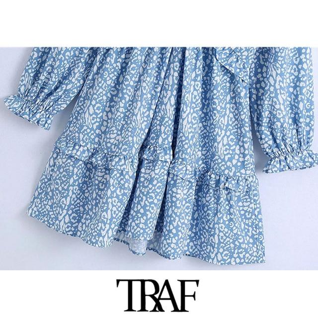 TRAF Women Chic Fashion Animal Print Ruffle Mini Dress Vintage Backless Bow Tied Side Zipper Female Dresses Vestidos 5