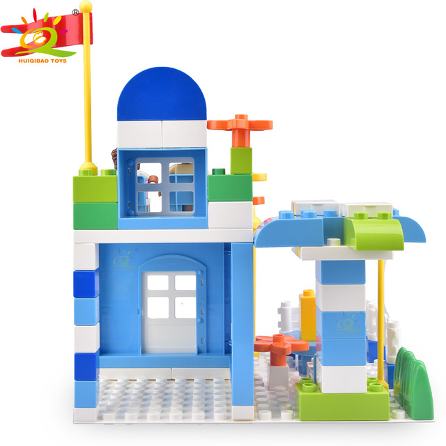 HUIQIBAO 93pcs Hair Salon Big Building Blocks set Duploed Size city street view shop Bricks Educational Toys For Children gift
