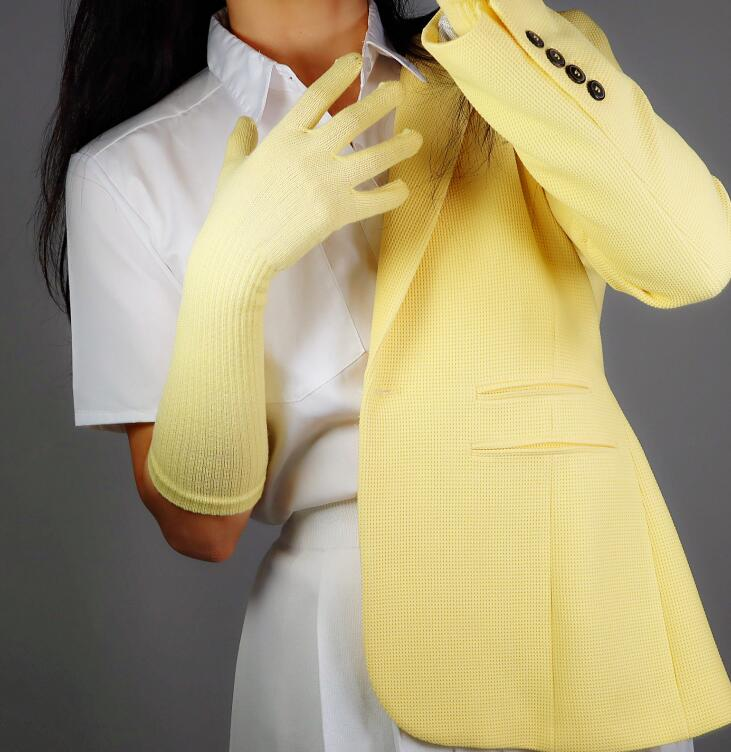 Women's Autumn Winter Wool Knitted Elastic Gloves Lady's Yellow Color Performance Dancing Long Warm Driving Glove 40cm R2779