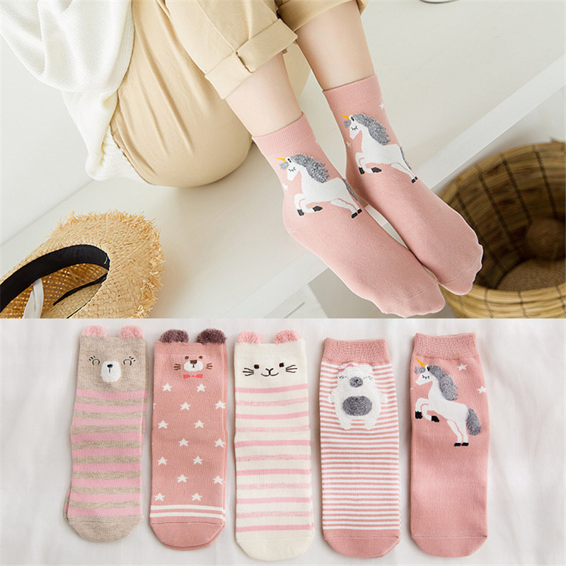 1 Pair Harajuku Unicorn Socks Women Cute Cartoon Winter Cotton Sock Ladies Streetwear Funny Socks Skarpetki Calcetines Mujer