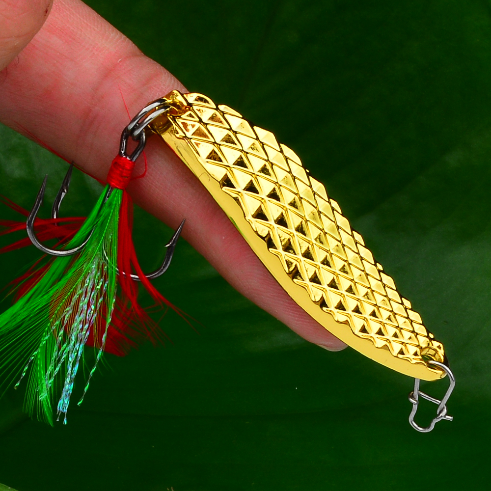 1pc Spoon Lure28g- 20g-15g-10g-5g Metal Fishing Bait Silver/Gold Spoon Bass Baits Feather Hook Fishing Tackle DW322