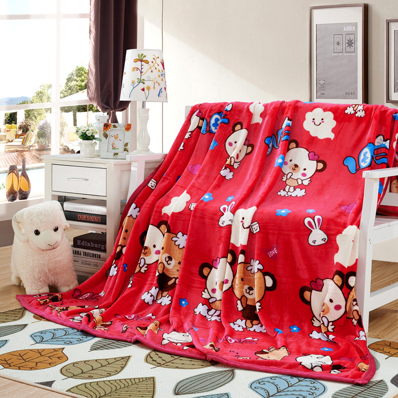 Cartoon Coral Blanket Single Person Airable Blanket Nap Thin Towel Office Small Quilt Flannel Blanket