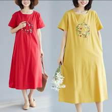 Buy Photo Shoot 2019 Summer Wear New Style Ethnic-Style Retro Embroidered Crew Neck Short-sleeve Dress Ag306 discount