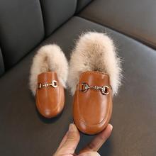 Winter Kids Fur Shoes Toddler Brand Black Loafer Fashion Moc