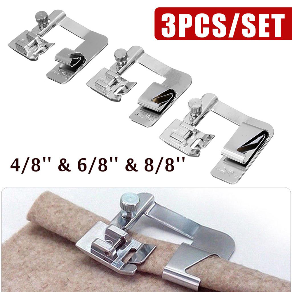 Universal 7pcs Rolled Hemmer Presser-Foot Set for Many Low High Shank Machines