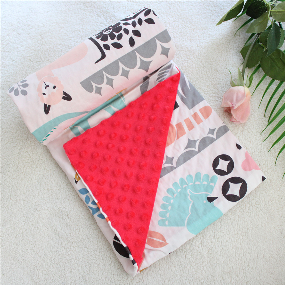 2 Layers 3D Minky Dot Cartoon Cotton Coral Fleece Soft Thermal Toddler Child Winter Baby Blanket Kids Back Seat Cover Baby Quilt