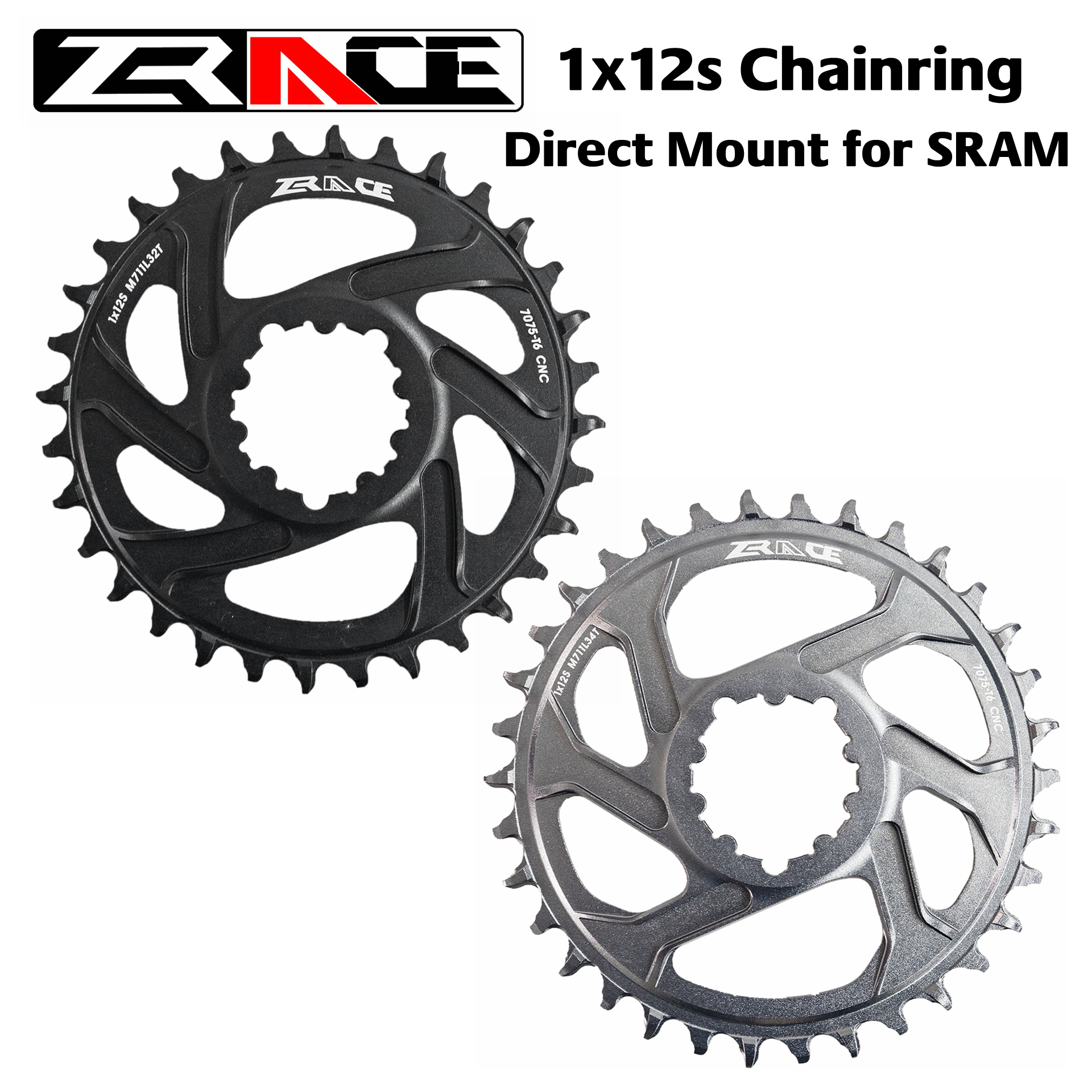 ZRACE 1 x 12s Chainrings, 28/30/32/34/36T 7075AL Vickers-hardness 21, offset 6mm, for SRAM Direct Mount Crank, compatible Eagle image