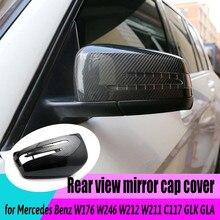 2pcs Car Styling Black Car Side for Mercedes Benz W176 W246 W204 W212 W221 C117 X204 X156 Mirror Cover Caps Carbon Fiber Pattern