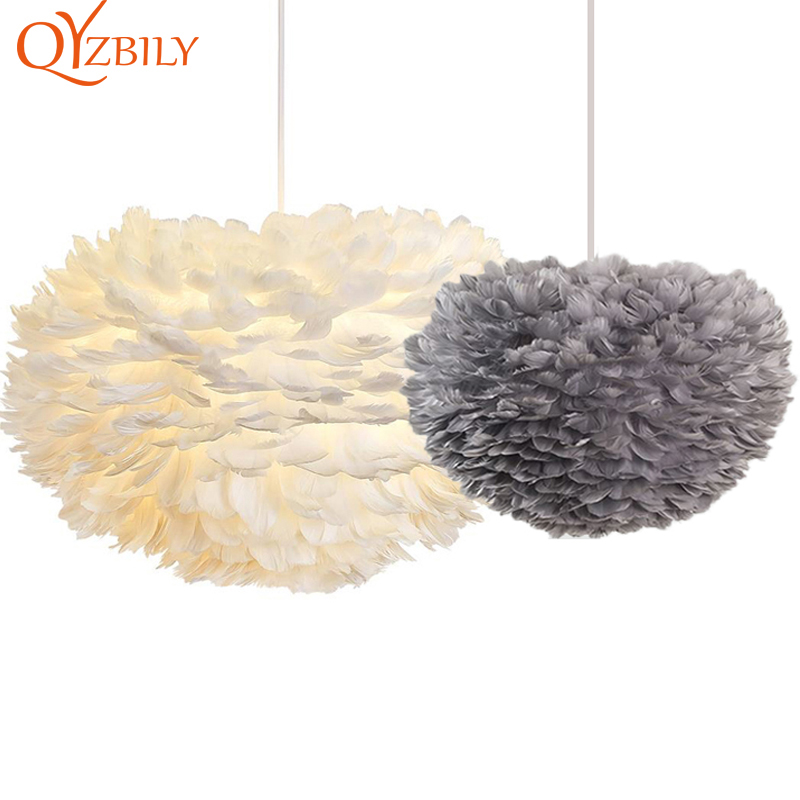 Feather Pendant Lights Modern Pandant Lamp Nordic Design Romantic HangLamp Feather Hanging Kitchen Dining Room Light Fixture