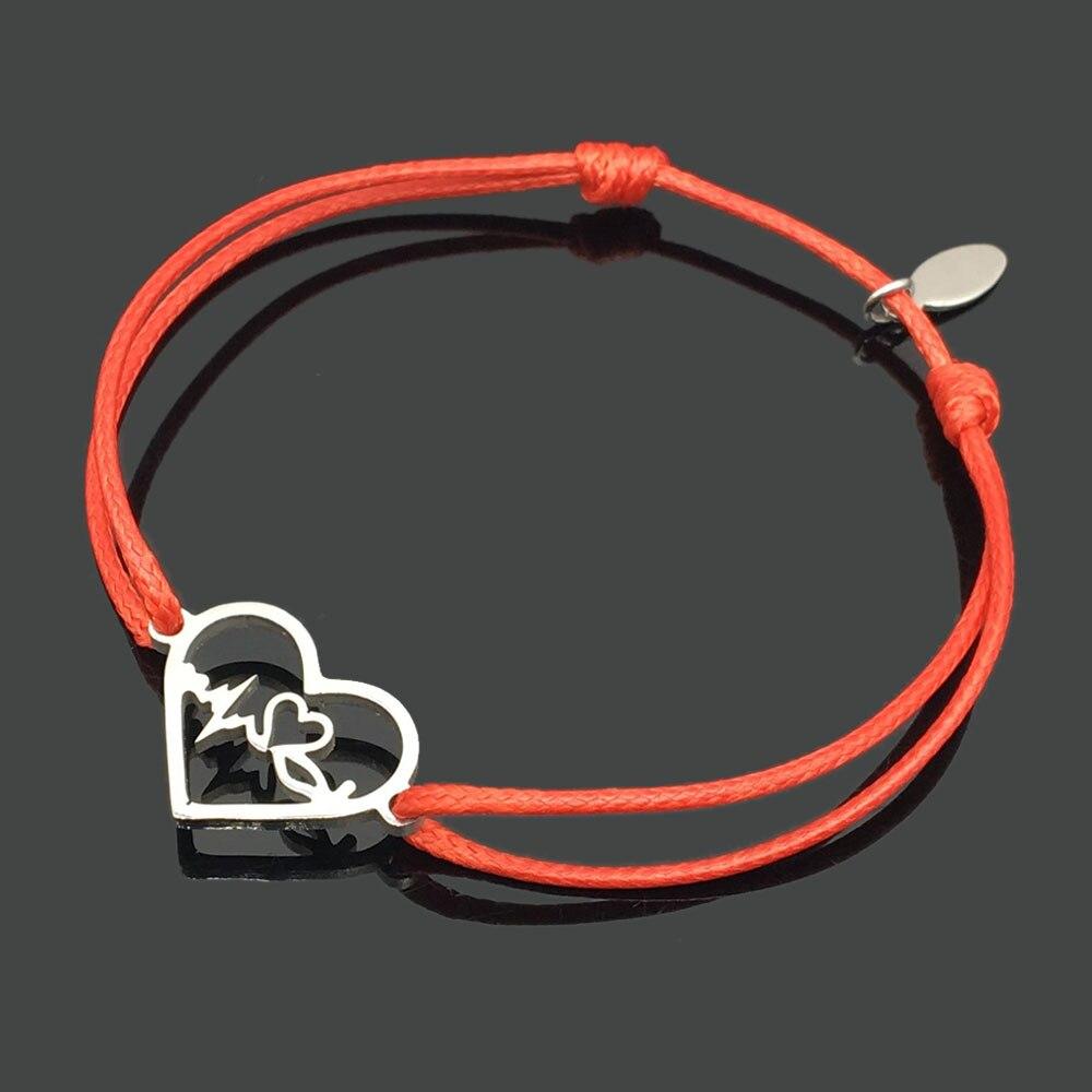 2 шт браслет желаний из нержавеющей стали, регулируемый шнур, хороший браслет, приносящий удачу, красный браслет дружбы - Окраска металла: stainless heartbeat