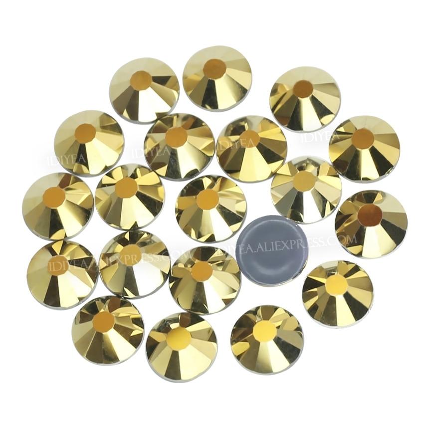 Хорошее качество блестящее золото ss16 ss20 Горячая фиксация стразы с плоской задней частью Кристалл страз блестящие стеклянные камни для свад...