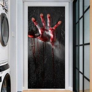 Image 5 - Halloween porte autocollants verre fenêtre autocollant salle de bain papier peint horreur effrayant porte autocollant accessoires de fête