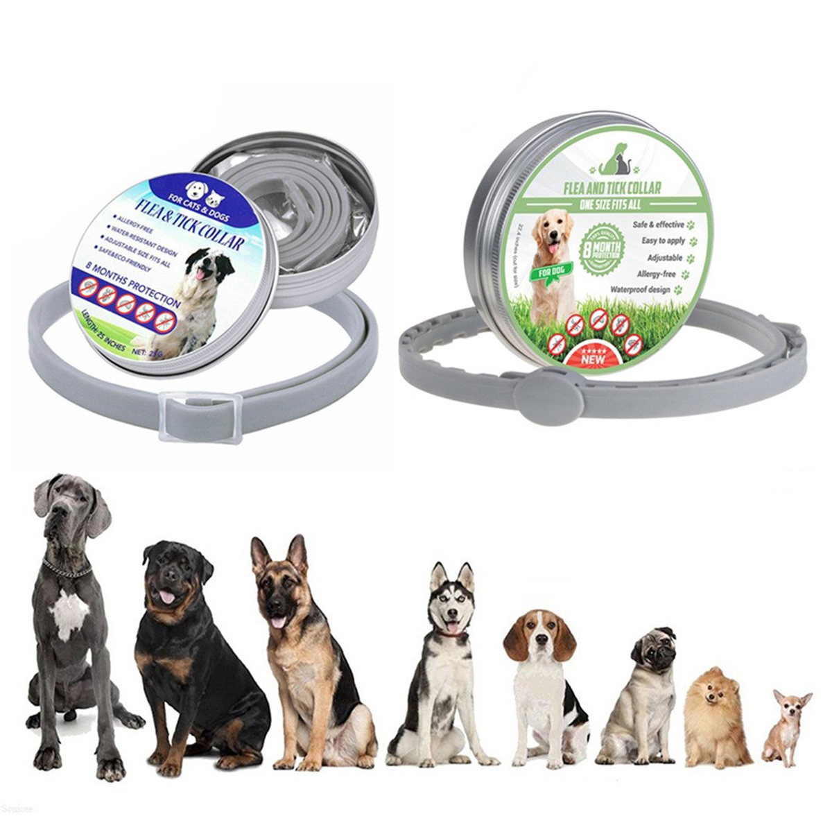 Dog Collar 8 Month Flea Tick Prevention Collar Flea Ticks Anti Mosquitoes Silicone Adjustable font b