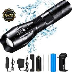 9000lm poderoso à prova d000lm água led lanterna portátil lâmpada de acampamento luzes da tocha auto defesa lanterna tática