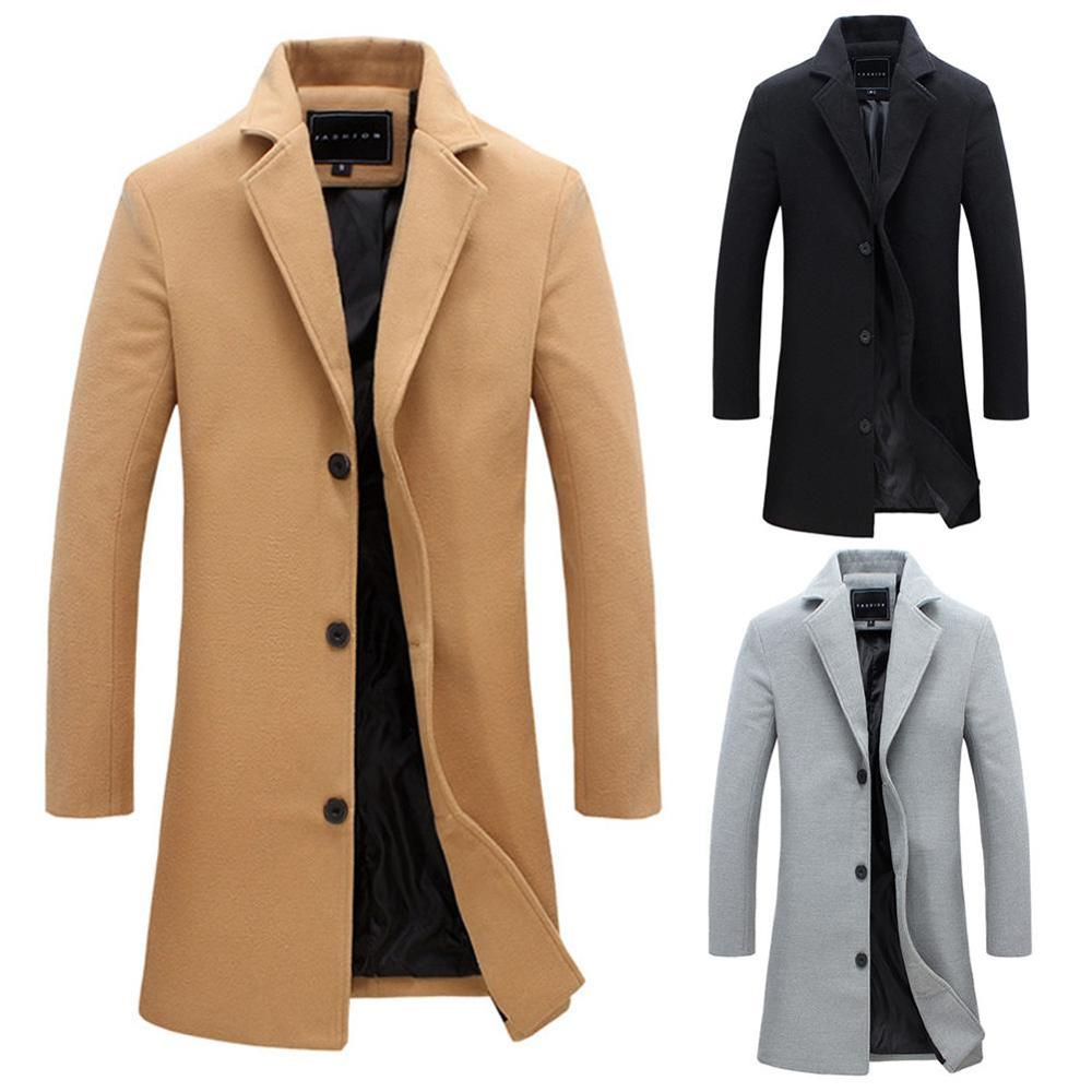 2019 New Fashion Winter Men's Solid Color Trench Coat Warm Long Jacket Single Breasted Overcoat Casual Fashion Thicker Overcoat